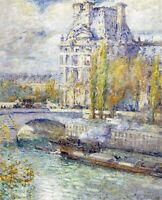 The Louvre on Pont Royal by Childe Hassam CANVAS Print Home Decor Wall Art Small