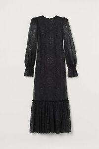 Vampire Wife H&M HM Long Lace Dress Black UK 0 2 4 6 10 14 32 34 38 42 EUR New