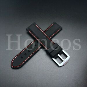 24 MM Black Rubber Silicone Soft Watch Band Strap Heavy Duty Red Stitching Lined