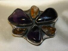 BROOCH/PENDANT STERLING SILVER WITH NATURAL AMETHYST&CITRINE