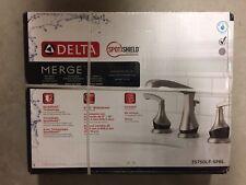 """Delta Merge 8"""" Widespread 2-Handle Bath Faucet SpotShield Brushed Nickel/Black"""