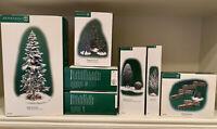 Dept 56, Village, Lot of 7 w Pequot Pine (X Large) & 3 Boxes of Scotch Pines