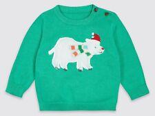 M&S Bebé Chicos Navidad Oso Polar Mullido Verde puente Top 0-3/3-6 meses BNWT