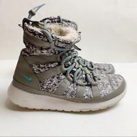 Nike Women's Roshe Run Gray Hi Sneaker Sneakerboots Print Winter Boots 6.5