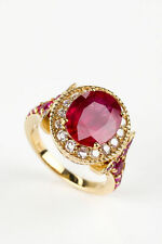 Ruby 14k Yellow Gold Solitaire with Accents Fine Rings