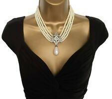Beautiful Vintage Inspired Three Row Faux Pearl Rope Necklace Antiqued Gold Tone