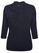 Zuri BLACK Crossover 3/4 Sleeve Jersey Top