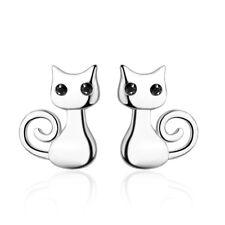 925 Sterling Silver Cute Cat Stud Earrings For Women Girl Delicate Jewellery