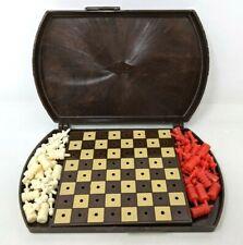 Rare VTG 1945 ES Lowe Art Deco Mini Plastic Travel Peg Chess Set Complete TT20