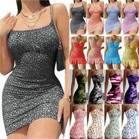 Women Floral Mini Dress Skirt Bodycon Strappy Summer Party Sundress Clubwear UK