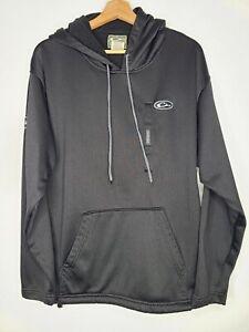 Drake Waterfowl Systems Hoodie Black Sweatshirt Hood Magnetic Chest Pocket Large
