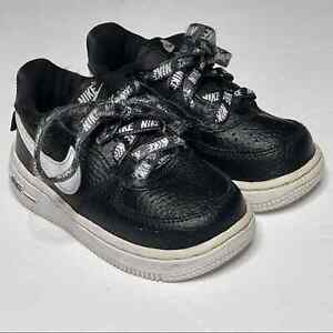 Nike Air Force I Low Sneaker Toddler Size 6 Leather Lace Up Shoe Black