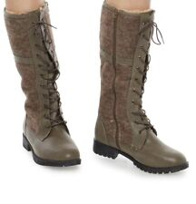 New Women's Faux Fur Lined Lace Up Boots Size 7 Taupe Color