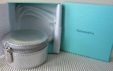 NEW ~ Authentic TIFFANY & CO ~ SILVER Textured LEATHER ~ ZIP JEWELRY Travel CASE