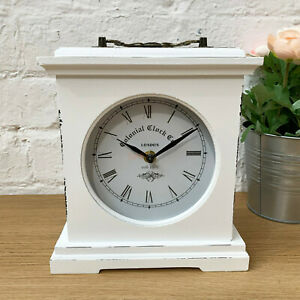 White Square Standing Free Standing Mantle Table London Wooden Frame Clock Gift