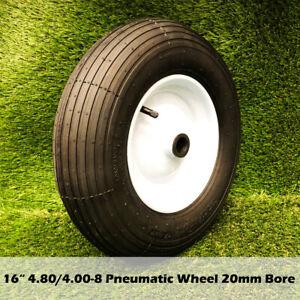 "16"" 4.8/4.00-8 Pneumatic Wheelbarrow Wheel Hand Trolley wheels Tyres 20 mm Bore"