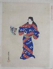 Fan Dancer : Vintage Signed Japanese Woodblock Print C 1900