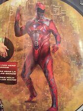 Adult Men's Saban's Power Rangers RED Ranger Full Bodysuit Costume Size XL 42-46