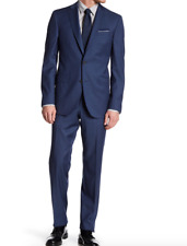 NWT Ted Baker London Blue Sharkskin Two Button Notch Lapel Wool Suit BLUE Sz 44L