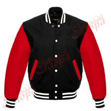 Black Varsity Letterman  Wool Jacket with Red Real Leather Sleeves XS-4XL