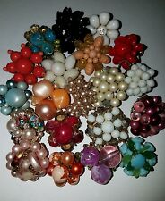 VINTAGE ESTATE JEWELRY SINGLE BEADED CLUSTER EARRINGS  LOT FOR ARTS CRAFTS #8