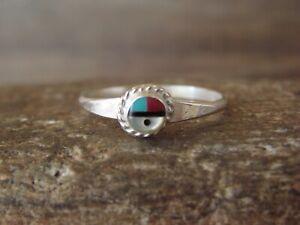 Zuni Indian Inlay Sunface Ring Size 4.5 by Devoria Bowekaty