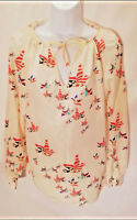 Singwing Women's Blouse Top Long Sleeve Semi Sheer Ivory Multi-color Size XL A1