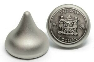 2019 Fiji $1 125th Anniversary Hershey's Kisses Antique Finish Silver Coin 39g