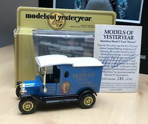 YESTERYEAR Y-12 BLUE HOOVER MODEL T WITH COA MIB VERY RARE MOY