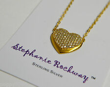 Yellow Gold Plated Sterling Silver Crystal Heart Pendant Necklace Jewelry Gift