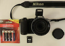 Nikon Coolpix L810 camera 26X zoom 16MP w/4GB SD card, new batteries, warranty