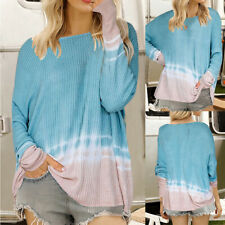 Womens Tie Dye Knit Tops Crew Neck Long Sleeve Pullover Blue Loose Sweater Tunic
