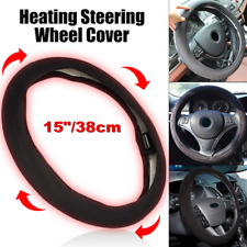 "12v Black 15"" Lighter Plug Heated Steering Wheel Cover Warm Winter Universal"