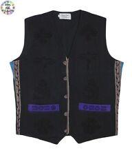 Black and Purple Cotton Printed Pattern Hippy Style Nepalese Waistcoat Medium