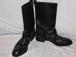 TOD'S BLACK LEATHER MIDCALF BOOTS SIZE 8 1/2