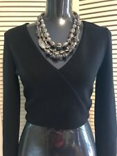 Express Long Sleeve Crop Black Blouse with Silver Shimmer Holiday Party Gift NWT