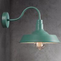Green Retro Industrial Gooseneck Wall Sconce Lamp Vintage Barn Light Shade Metal