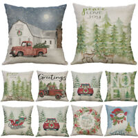 Home Decorative Deer Cotton Linen Christmas Car Cushion Cover Pillow Case 18""