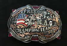 Trophy Rodeo Champion Belt Buckle Team Roper Roping Header Heeler