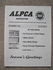 Early Chicago Registrations, Wake Is. License Plates- Dec. 1996 ALPCA Newsletter