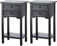 2 modern black small side End bedside Table bedroom Night stand 2 drawer shelf
