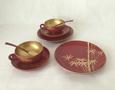 JAPANESE RED WITH GOLD LACQUER TEA SERVING SET FOR 5. BAMBOO ORNAMENTS