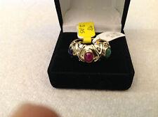 14k yellow gold multi stone cabochon style ring,diamond,ruby, sapphire,emerald