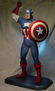 "CAPTAIN AMERICA 17"" STATUE w PROFESSIONAL BUILD & PAINT 1990 Marvel Horizon"