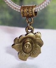 Rose Flower Bronze Tone Garden Brown Dangle Charm for European Bead Bracelets