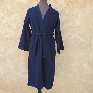 Chakir Linen Blue Bath Robe 100% Turkish Cotton Towel Mens Size Small S