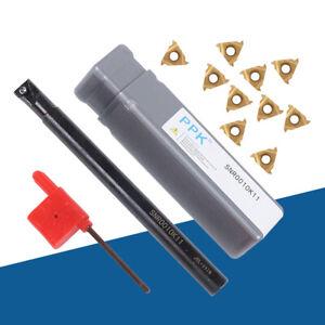 CNC Lathe Internal Threading Boring Bar Turning Tool Holder +10 Inserts 1 Wrench