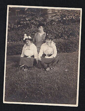 Antique Vintage Photograph Three Women in Cool Outfits Sitting on Ground