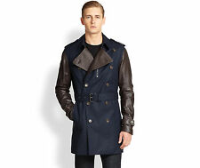Michael Kors, Midnight Leather Sleeve Men's Trenchcoat, Size S, ($995)