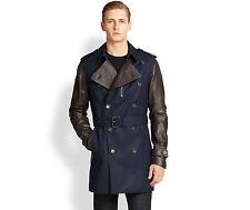 Michael Kors, Midnight Leather Sleeve Men's Trenchcoat, Size S, ($995)